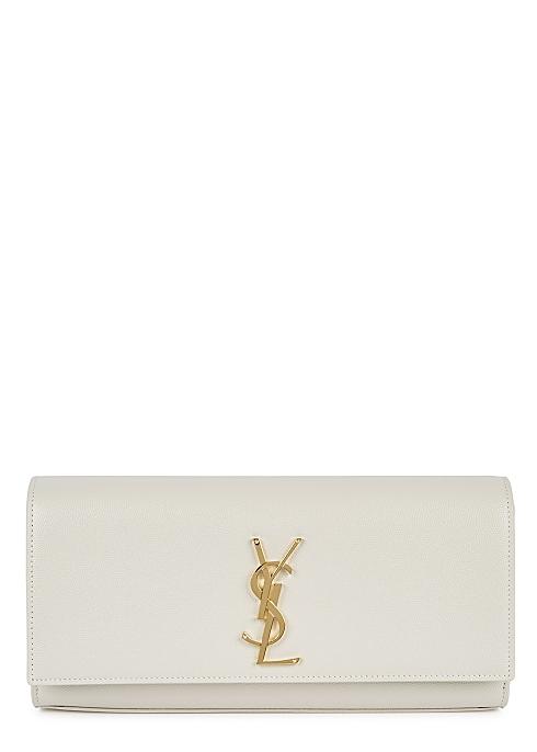 37fc935432f Saint Laurent Kate ivory leather clutch - Harvey Nichols