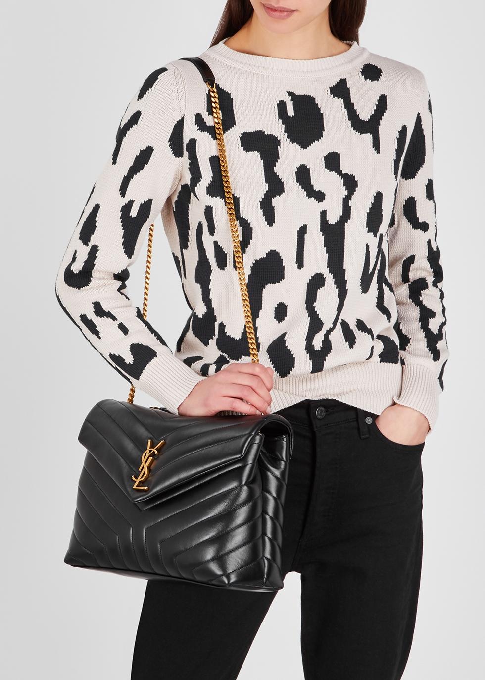 f2e38a95c3c Saint Laurent Loulou medium black leather shoulder bag - Harvey Nichols