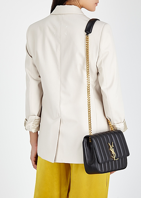 40879884062 Saint Laurent Vicky Medium black leather shoulder bag - Harvey Nichols