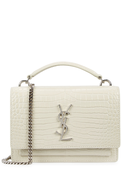 52bb421c42ae Saint Laurent Sunset crocodile-effect leather cross-body bag ...