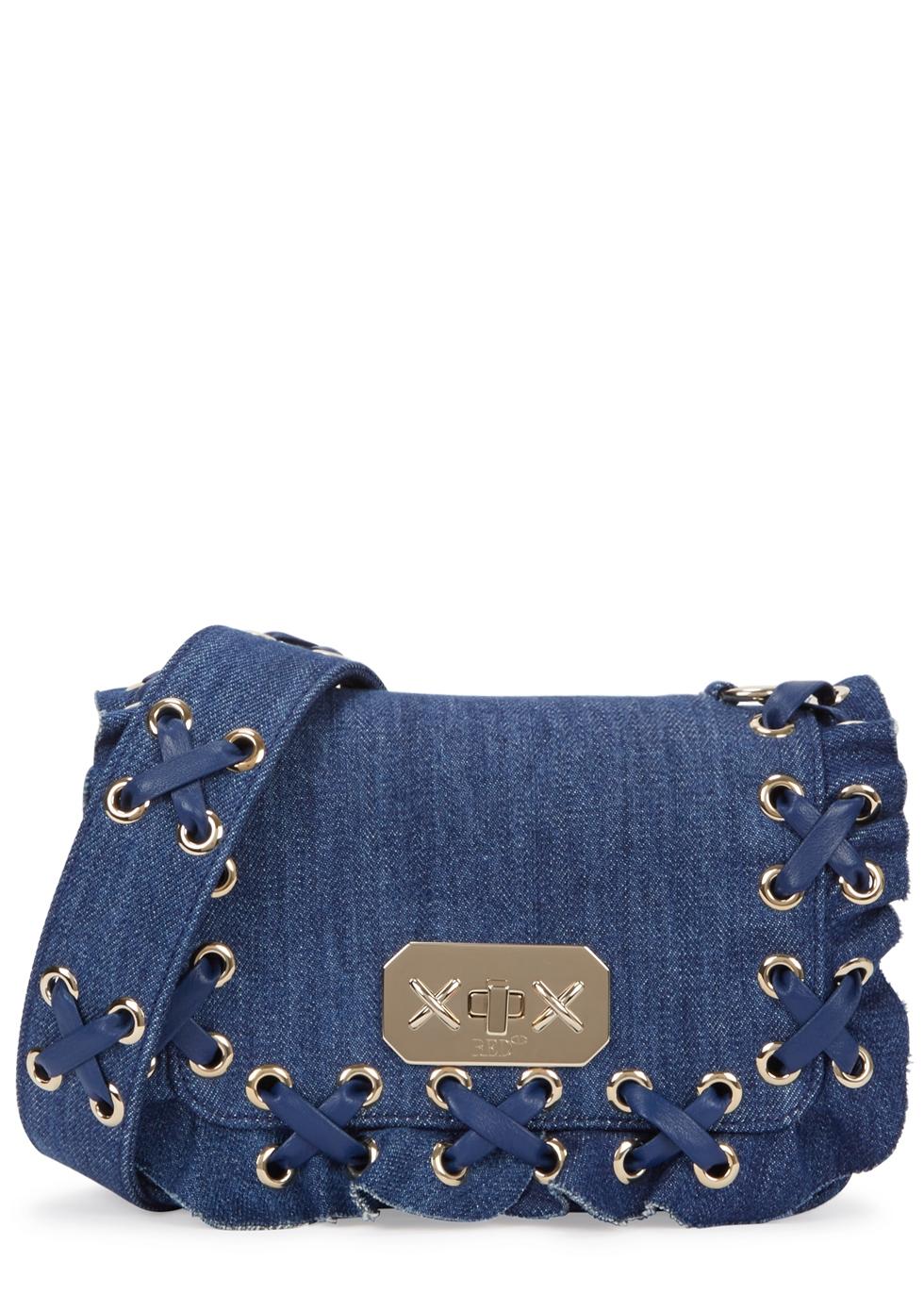 RED V Rock Ruffles Denim Shoulder Bag in Blue