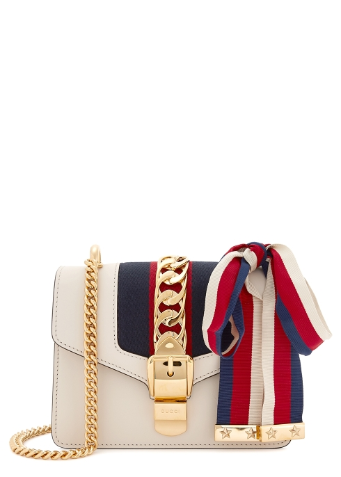 Gucci Sylvie mini cream leather cross-body bag - Harvey Nichols 70b3f2293673d