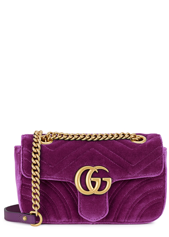 GG Marmont mini velvet shoulder bag ... 4c329560f0ee4