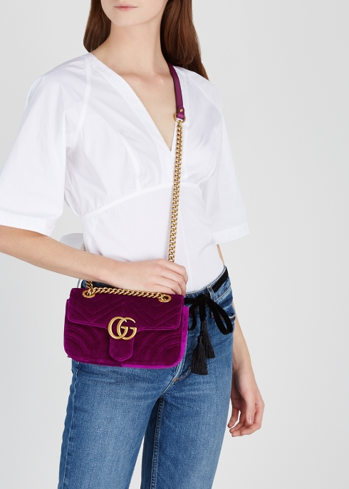 aa9e82b1d49 Gucci GG Marmont mini velvet shoulder bag - Harvey Nichols