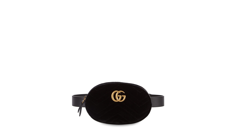 363e5f31f9923 Gucci GG Marmont black velvet belt bag - Harvey Nichols
