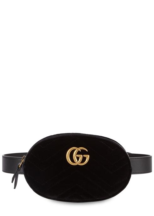 Gucci GG Marmont black velvet belt bag - Harvey Nichols
