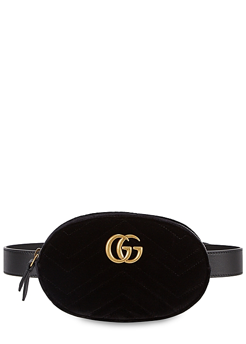 aa4725db86f1 Gucci GG Marmont black velvet belt bag - Harvey Nichols