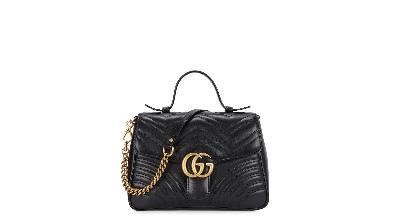 0f3ea7811e4fd Gucci GG Marmont black leather shoulder bag - Harvey Nichols