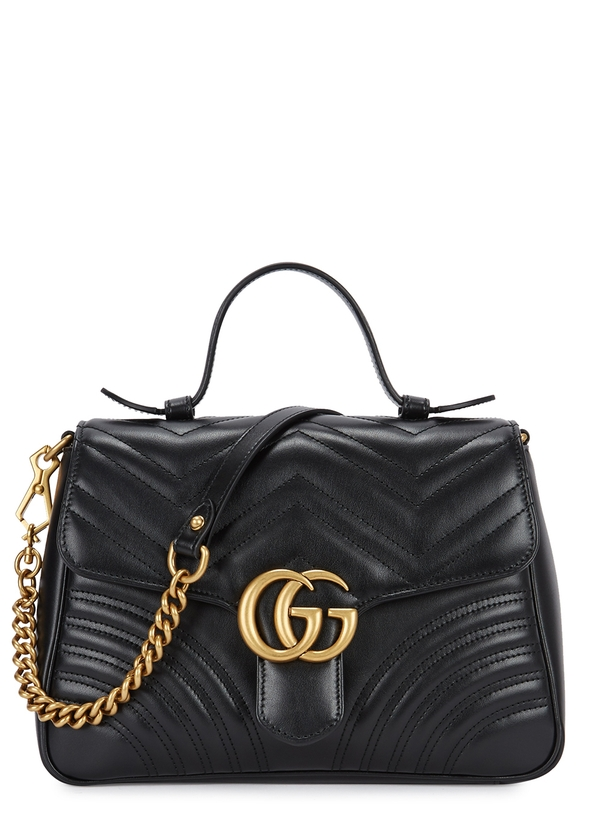 70d25c31a4ca GG Marmont black leather shoulder bag ...