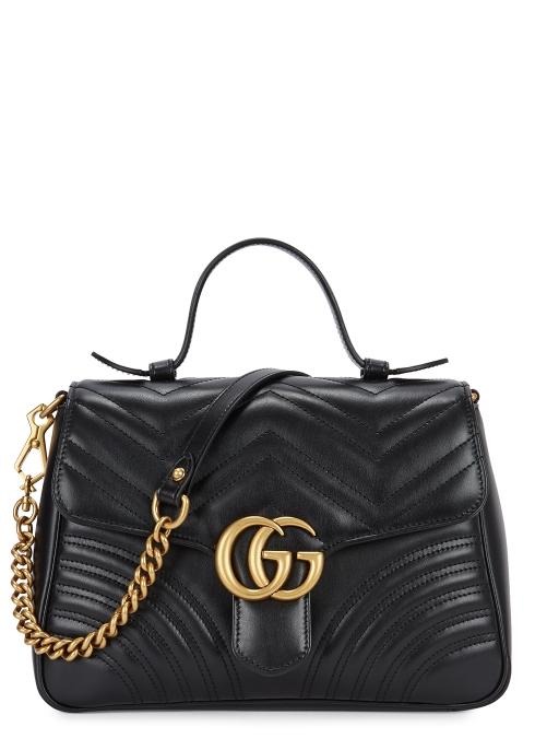 ec551e3279c Gucci GG Marmont black leather shoulder bag - Harvey Nichols