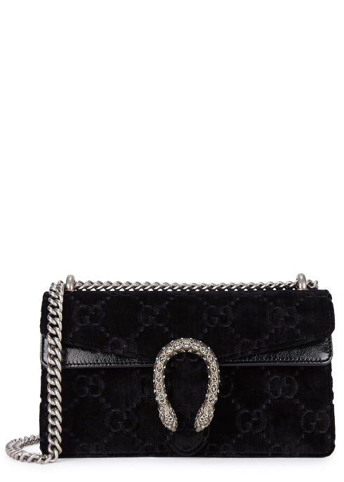 a7eec24c10d Gucci Dionysus Small Black Velvet Shoulder Bag Harvey Nichols