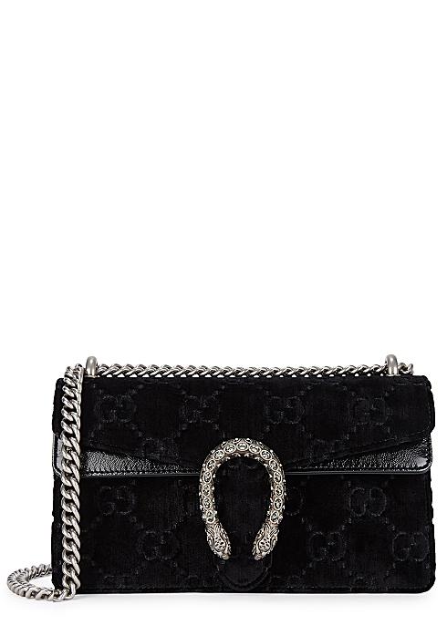 24a5fb337 Gucci Dionysus small black velvet shoulder bag - Harvey Nichols