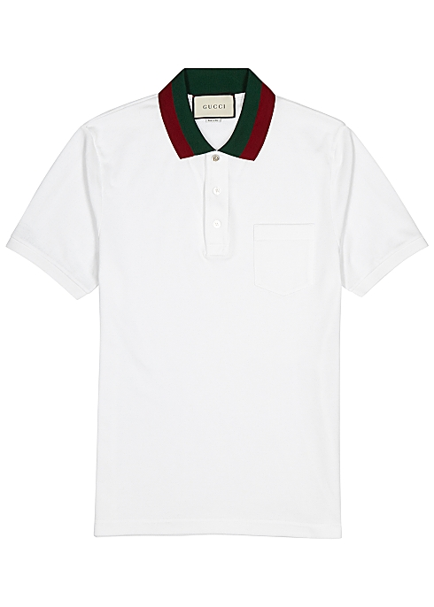 a28def9b1 Gucci White piqué cotton polo shirt - Harvey Nichols
