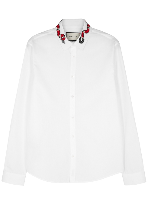 e4f000a03dae1f Gucci White snake-embroidered cotton shirt - Harvey Nichols