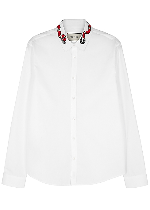 9bd3d3352ef8 Gucci White snake-embroidered cotton shirt - Harvey Nichols