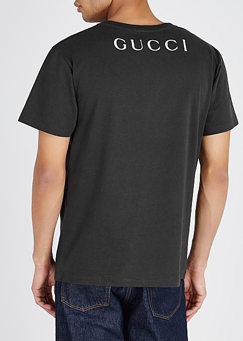 8b36edfafed7 Gucci Charcoal printed cotton T-shirt - Harvey Nichols