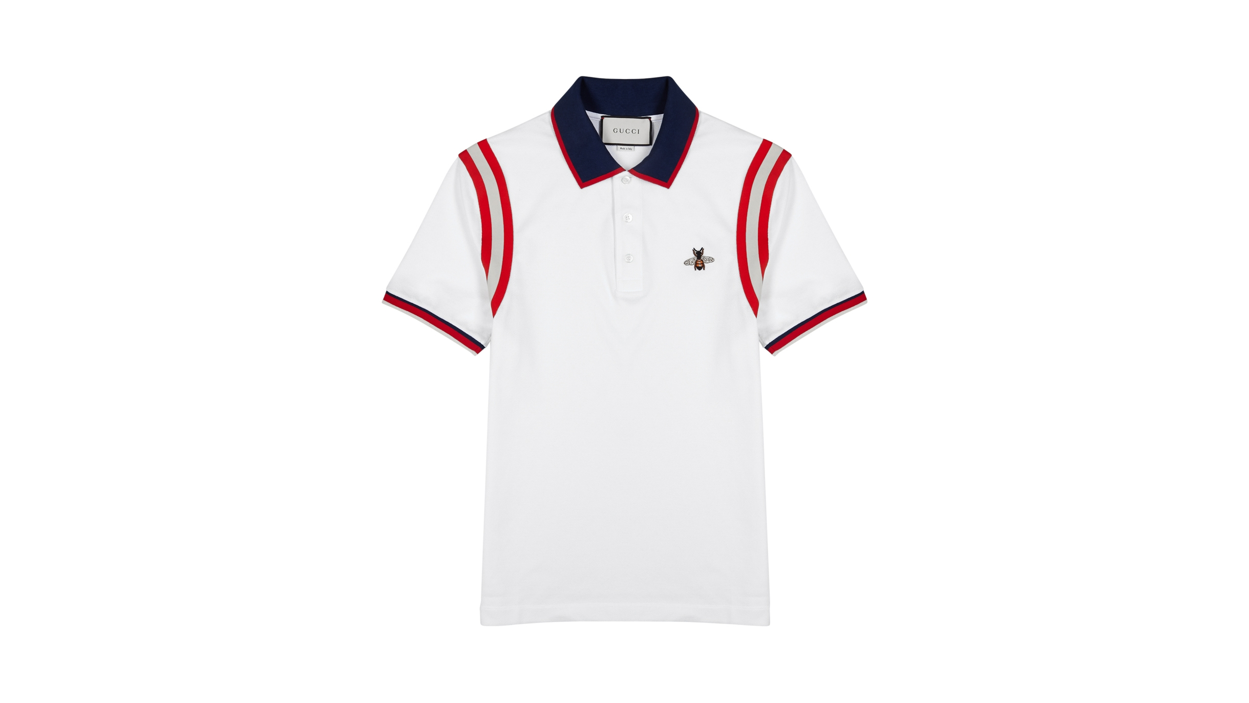 f98cf00dc4a Gucci White striped piqué cotton polo shirt - Harvey Nichols