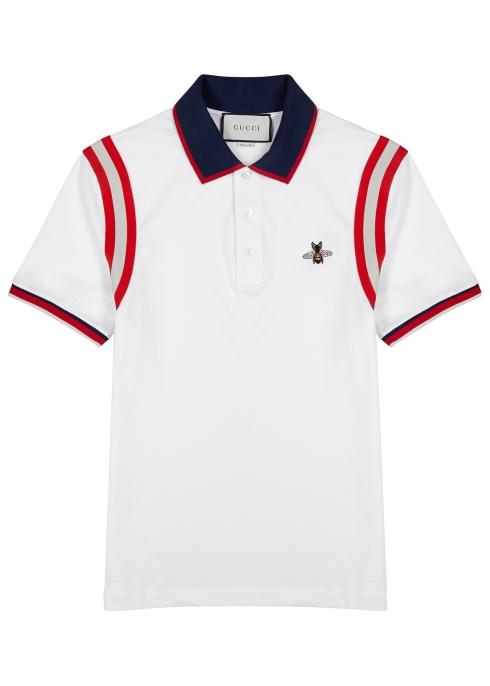 5a0609f2f Gucci White striped piqué cotton polo shirt - Harvey Nichols