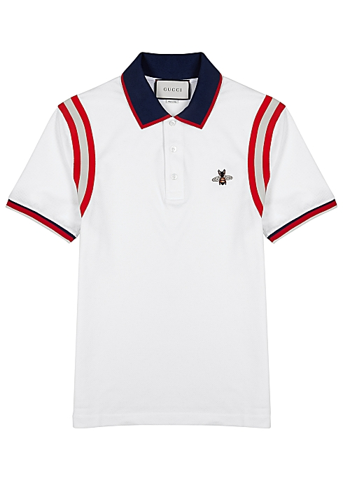 fdf72bbc3 Gucci White striped piqué cotton polo shirt - Harvey Nichols