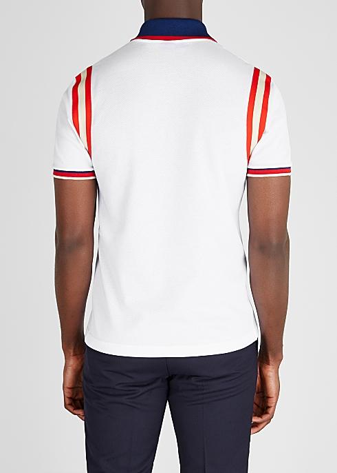 add2e359cc83 Gucci White striped piqué cotton polo shirt - Harvey Nichols