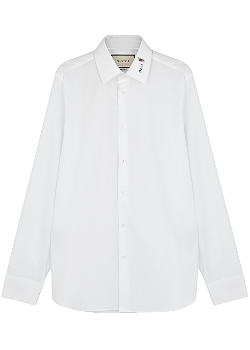 2c99d82ed Gucci White logo-embroidered cotton shirt - Harvey Nichols