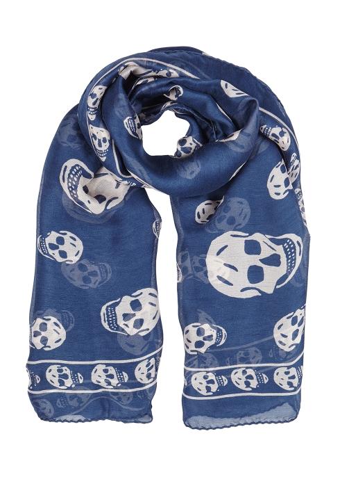 f19222b2f7da0 Alexander McQueen Blue skull-print silk chiffon scarf - Harvey Nichols