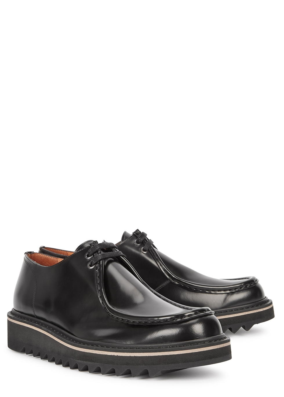 Black leather flatform shoes - Dries Van Noten