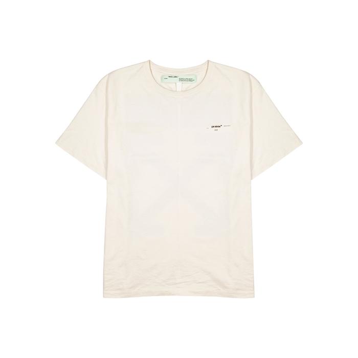 Off-White Ecru Printed Cotton T-shirt
