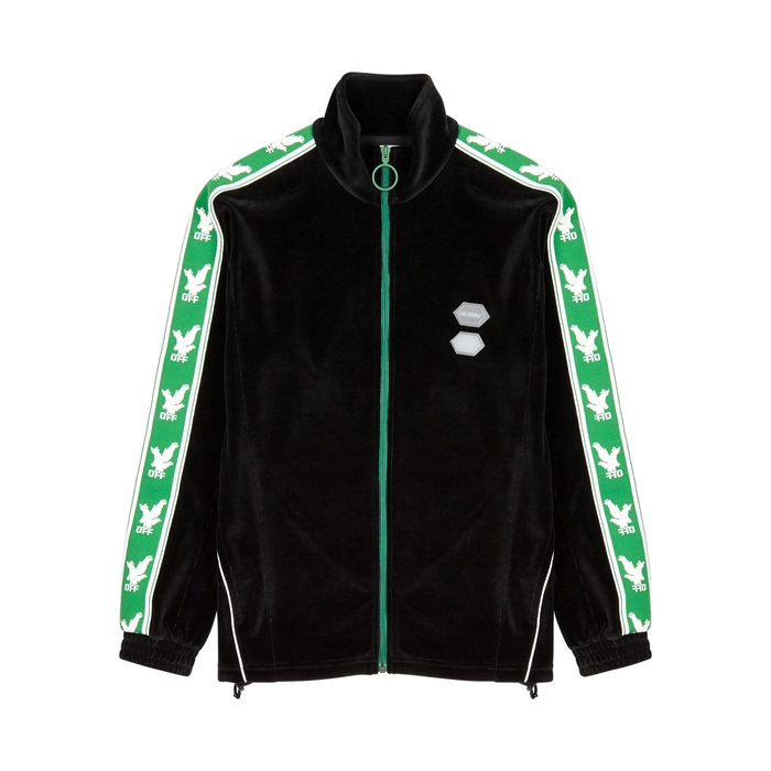Off-White Black Striped Velour Sweatshirt