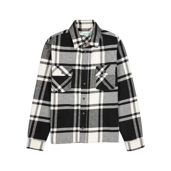 Off-White Checked Printed Flannel Shirt