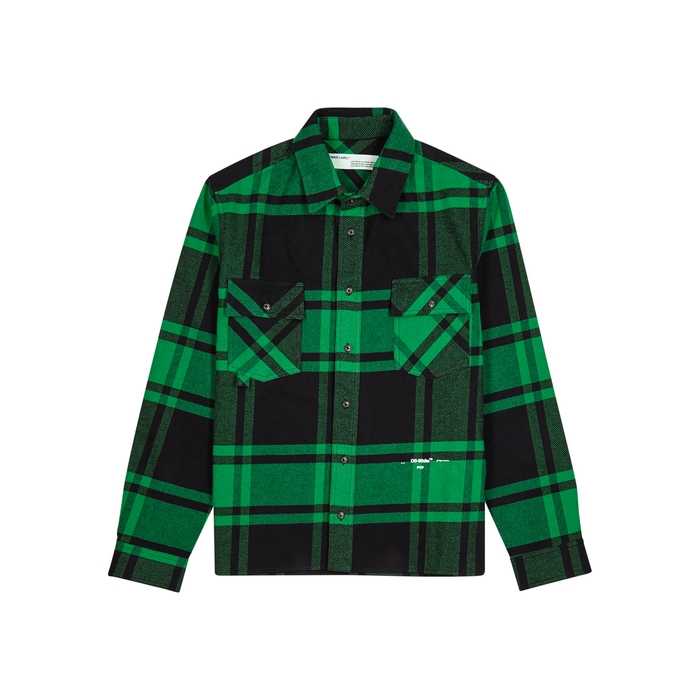 Off-White Green Checked Flannel Shirt