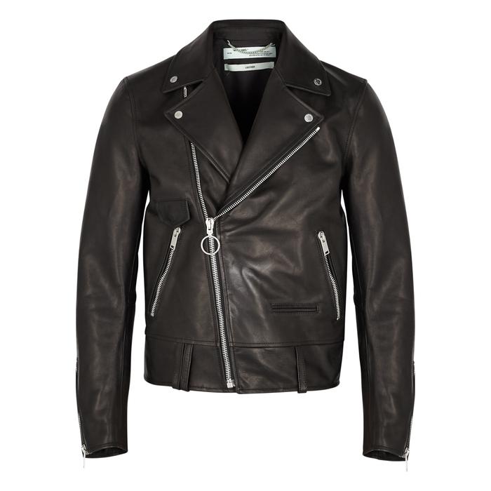 Off-White Black Printed Leather Biker Jacket