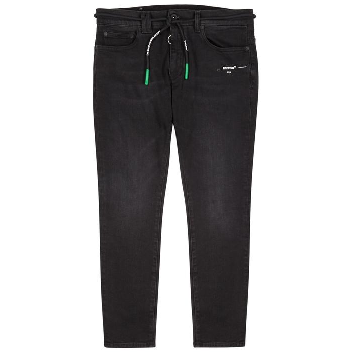 Off-White Black Logo-print Skinny Jeans
