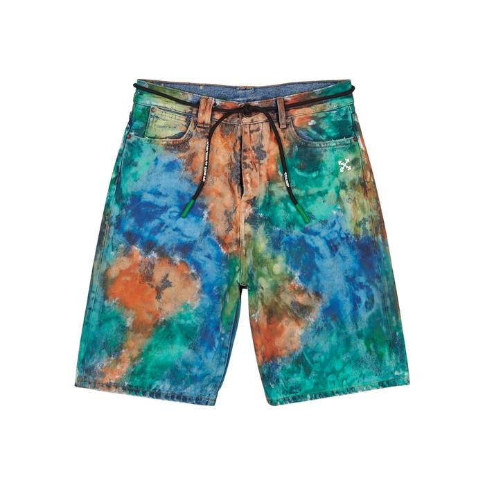 Off-White Paint-effect Denim Shorts