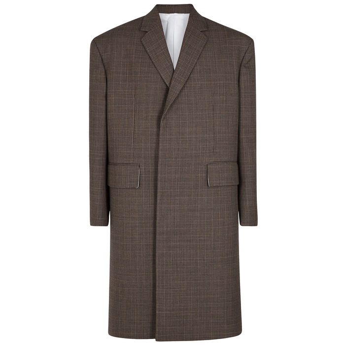 Calvin Klein 205W39NYC Taupe Checked Houndstooth Wool Coat