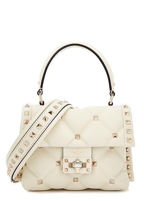 eb0347b08b4 Valentino Garavani Candystud mini ivory leather top handle bag ...