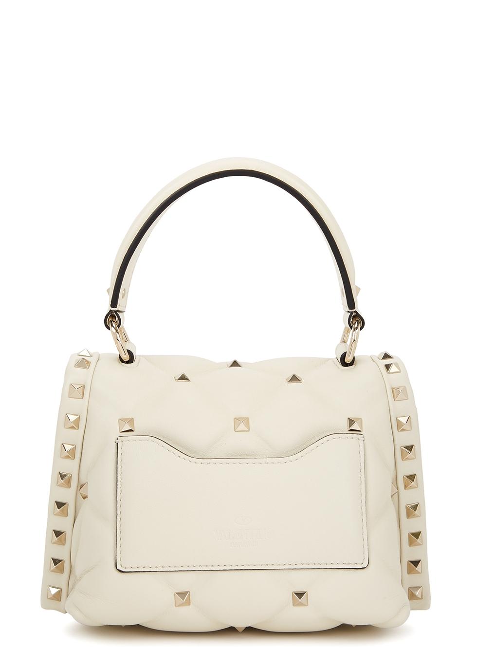 Candystud mini ivory leather top handle bag - Valentino Garavani