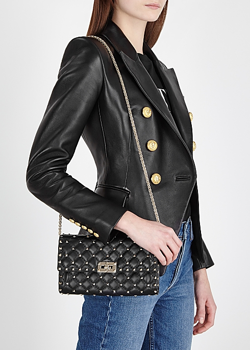 9e5c52e71 Valentino Garavani Rockstud Spike black leather shoulder bag ...