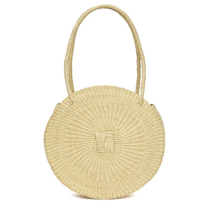 Sensi Studio Circle cream straw tote bag