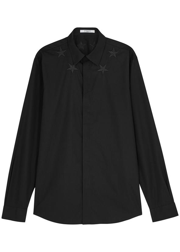 5ebc078b212a Black star-embroidered cotton shirt ...