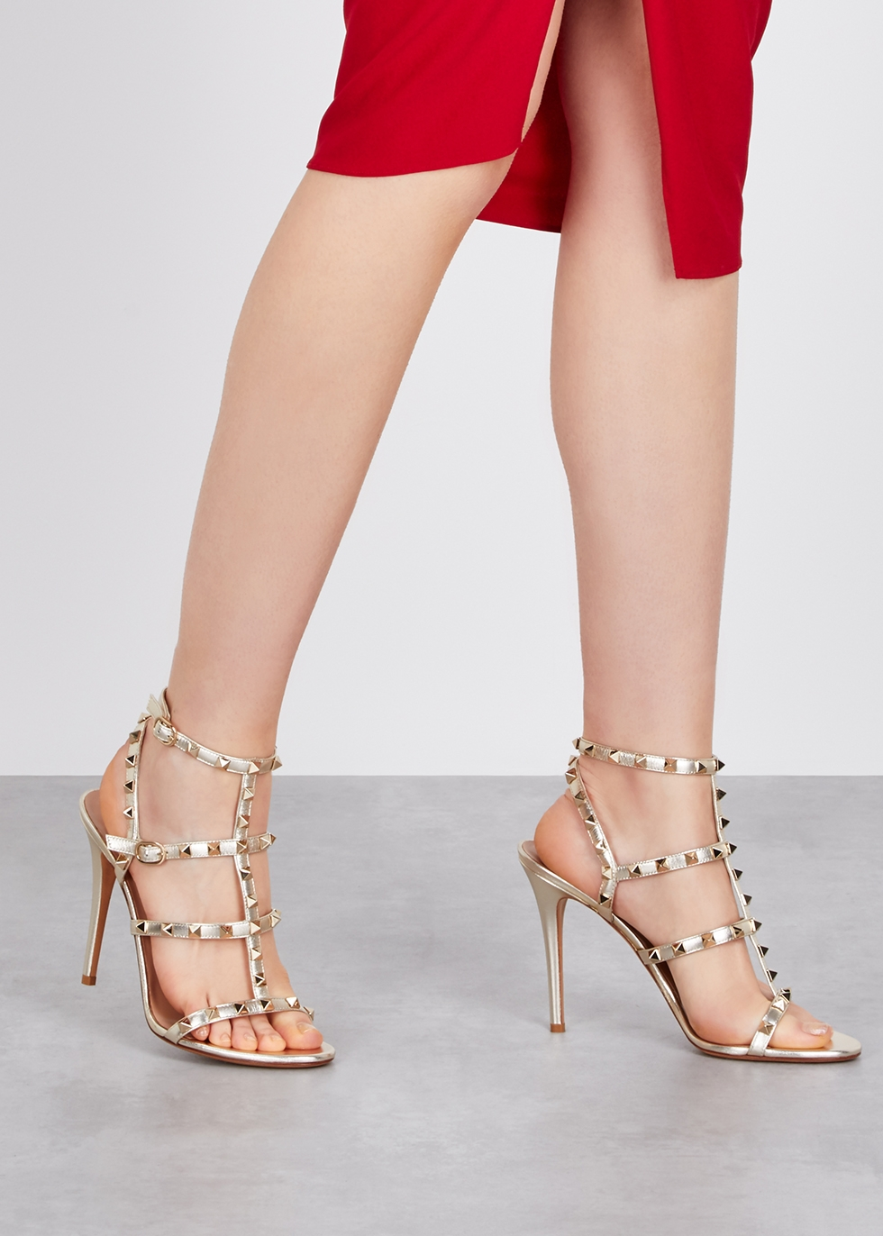 2f5d2c8ee55 Valentino Garavani Rockstud 105 gold leather sandals - Harvey Nichols