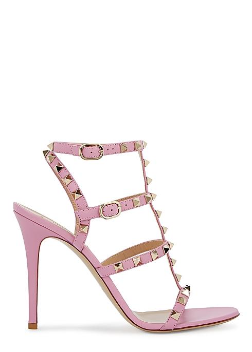 a9d1c59af986f Valentino Garavani Rockstud 100 pink leather sandals - Harvey Nichols