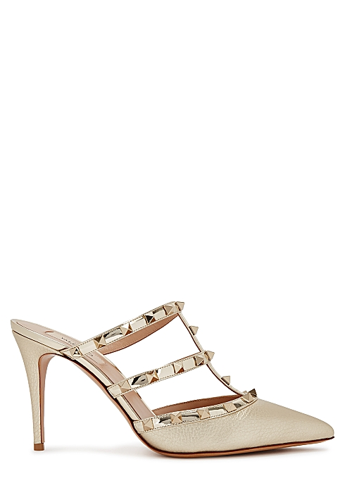 33e9997279b Valentino Garavani Rockstud 90 gold leather mules - Harvey Nichols