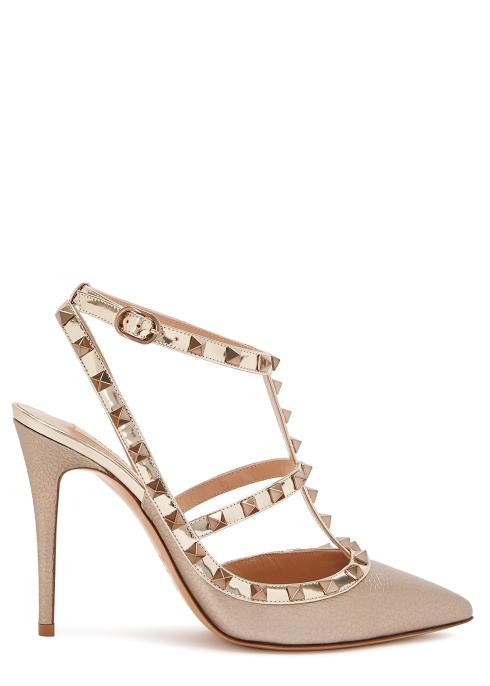 9584819d45f Valentino Garavani Rockstud 100 gold leather pumps - Harvey Nichols