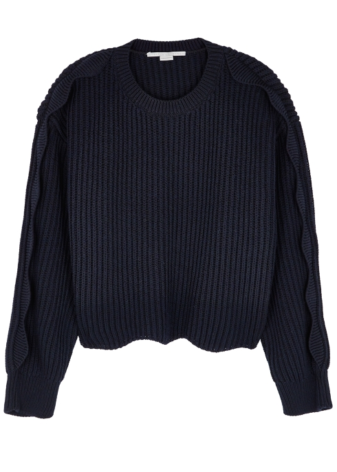 90ae5335e893 Stella McCartney Navy scalloped ribbed-knit jumper - Harvey Nichols