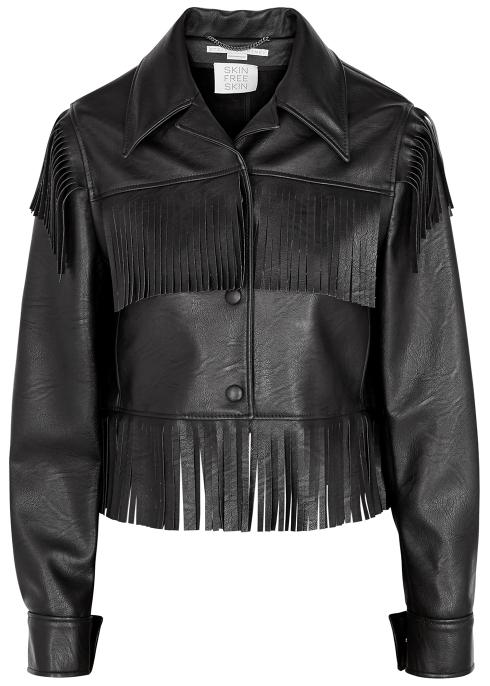 Stella McCartney Black fringed faux leather jacket - Harvey Nichols 7d624c4ecd