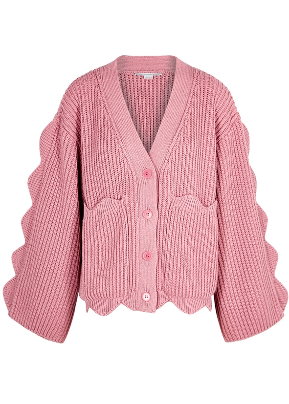 Pink oversized cotton-blend cardigan Pink oversized cotton-blend cardigan.  New Season. Stella McCartney 5c2608988