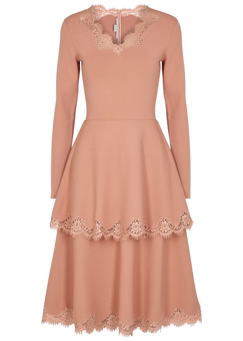 c2830e4a0055 Stella McCartney Lace-trimmed jersey midi dress - Harvey Nichols