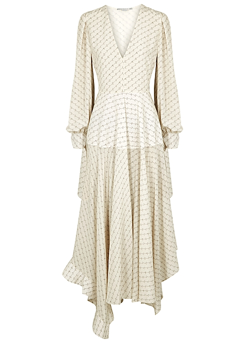 832b4e28b Stella McCartney Marley cream monogrammed silk dress - Harvey Nichols