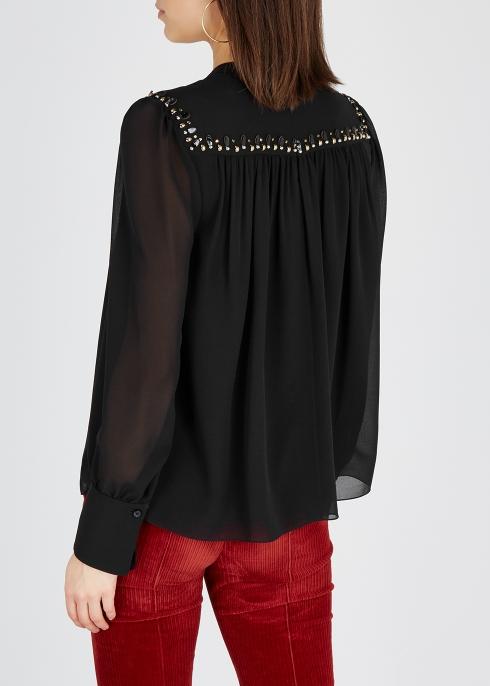 7b89696a41b1d8 Chloé Embellished silk chiffon top - Harvey Nichols